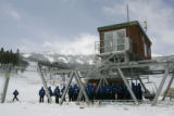 Breckenridge Ski Op workers train on Lift 7 at  Peak 8 at Breckenridge, Thursday morning November...