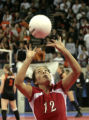 Jordan Melgoza, McClave,sets the ball, in a set against Pawnee, Friday, November 7, 2008, Denver...