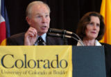 (BOULDER, CO., MAY 27, 2004)  University of Colorado Chancellor Richard Byyny, left, answers a...