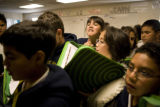 Students at KIPP Sunshine Peak Academy, 375 S. Tejon St., in Denver, Friday, November 7, 2008 pile...