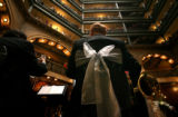 (PG2610) A quintet from the Colorado Symphony Orchestra performs while the Brown Palace Hotel...
