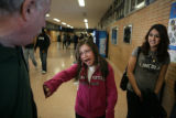 Ilse Chip, 15, (cq) talks with Sam Kortnicki (cq) outside of Lincoln High School, 2285 South...