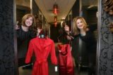 Judie Schwartz, left,  and Evelinda Urman in a dressing room at Nordstroms  in the Cherry Creek...