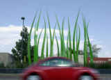 Englewood, Co.  8/20/2003--Lawrence Argents Virere sculpture of huge blades of grass in the median...