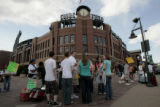 Fans wait outside at Coors Field, Tuesday evening, June 17, 2008, Denver. Coors Field is in the...