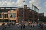 Fans head to Coors Field, for a game against Cleveland Indians, Tuesday evening, June 17, 2008,...