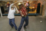 DM1726  Bailee Abke, 10, dances with Terry Gertge at the Saturday night dance during the Earl...