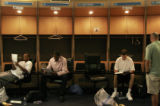 (310)  Sitting from left to right, Reggie Larry of Boise State, front, and James Mays of...