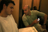 (358)  St. Joseph's guard Patrick Calathes fills out a questionnaire during his audition with the...