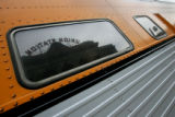 Union Station reflected in the windows of the Ski Train parked at the station, Monday afternoon,...
