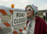 Summit County resident, Ruth Hertzberg (cq) shows her displeasure toward Denver Water for closing...