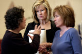 (BOULDER, CO. ,  May 26, 2004)  Joan Russel, a CU supporter, Patty Klopfenstein, mother of CU...