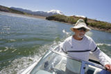 DM0115  Sammy Toys, 62, cruises on his boat on the waters of Lake Dillon in Dillon, Colo. Monday...