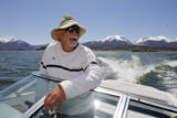 DM0135  Sammy Toys, 62, cruises on his boat on the waters of Lake Dillon in Dillon, Colo. Monday...