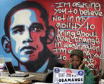 Barack Obama campaign staffer Camilla Ihenetu (cq) returns phone calls in the Obama for President...