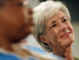 Kansas Gov. Kathleen Sebelius , right, a possible vice presidential candidate, appeared with Gov....