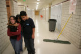 Aleah Vigil, 13, (cq), Angelita Moreno, 12, (cq) and Nick Villarreal, 13, (cq) (L-R) walk the...