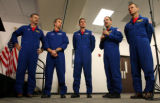 NASA's STS-125 Astronauts, left to right, Scott Altman, Drew Feustel, Mike Good. John Mace...