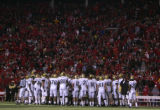 (1455) The Colorado team gathers before Nebraska attempts a 57-yard field goal in the fourth...