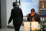 Jim Archuleta (cq) speaks during funeral services for two-year-old Elijah Archuleta (cq) at St....
