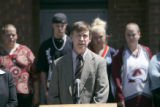 Mayor John Hickenlooper speaks in front of The Spot, a recreation and educational facility for...