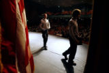 DM0225  Jordan Zlotoff, 24, left, and Brian Zaharatos, 23, make their way across stage after...
