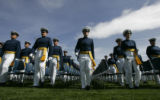The 2005 graduating class of the United States Air Force Academy walks in a procession to their...