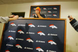 (065) jay Cutler press conference at Broncos Headquarter at Dove Valley in Englewood, Colo., on...