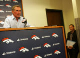 (117) Head Coach Mike Shanahan speaks at a press conference at Broncos Headquarter at Dove Valley...
