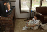 (MORRISON, Colo., June 9, 2004)  Linda Giere, 49, watches former first lady Nancy Reagan and the...