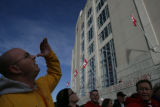 Matt Thompson of Boulder (cq) looks up at Memorial Stadium as Nebraska takes on Colorado at...