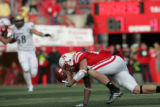 Nate Swift (cq) of Nebraska drops a return during the Colorado vs. Nebraska football game at...