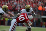 # 78 Nate Solder (cq) blocks for Demetrius Sumler (cq) of Colorado as Blake Lawrence (cq) of...