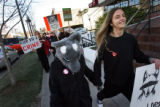 MJM502   Wearing a homemade wolf costume, Karen White (cq), 14, of Fort Collins, Colo., center,...