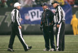 0533 Denver Broncos head coach Mike Shanahan has a word with the referees in the first quarter at...