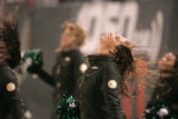 0818 Jets cheerleaers have a bad hair day in the second quarter at Giants Stadium in the...