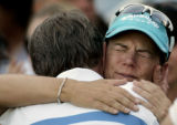 XKJ112 - Sweden's Annika Sorenstam, right, reacts at the end of the final of the Dubai Ladies...