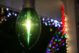 A giant Christmas light bulb in front of Ken Hostetler (cq) home at 1436 South Laredo Way in...