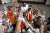 NFL Rookie of the Year candidate Eddie Royal (cq) ends the day with a cheer from the fourth grade...