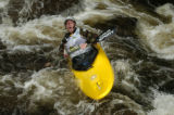 James Blackney struggles to right himself Thursday June 2, 2005 while competing in the Paddler...