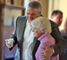Gov.Bill Ritter (cq) hugs Sister Laetitia Slusser (cq)  during a community gathering and pancake...