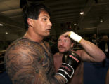 PAJK106 - Danny Bonaduce, right, congratulates former baseball palyer Jose Canseco following their...