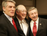 JPM1367 U.S. Sen. Mark Udall, left, and U.S. Rep. John Salazar, flank U.S. Sen. Ken Salazar as...