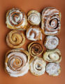 Cinnamon Rolls.  Left column: Cinnabon, top, Duffey Roll, Johnson's Corner, bottom left. Center...