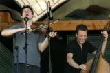 Ketch Secor, left, and Morgan Jahnig, right, of the Old Crow Medicine Show, perform at the 32nd...