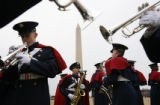 MJM133 Members of the Virginia Tech cadet marching band rehearse next to the Washington Monument...