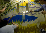 At Woodridge Terrace Nursing Home many hands make a mural - Jamie Paul, Organizer, Nancy Sweet,...