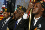 DM0782  A tear streams down the face of Kenneth Thomas, 49, as he posts the colors along with...