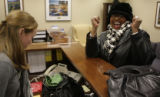JOE0058  Elbra Wedgeworth,  former Denver city council president, reacts in the office of Ken...