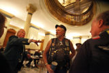 "SR(136) Sergeant-at-arms John Wallin, left, instructs members of the ""Patriot Guard..."